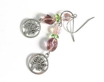 glass crystal earrings dangle   handmade jewelry from Michigan   holiday gift wife   long bead earrings   tree of life earrings   tree lover