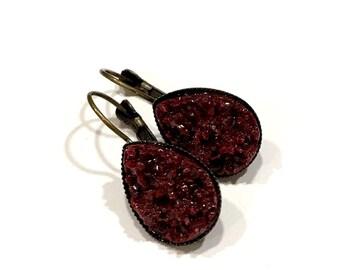 burgandy earrings handmade   dark red druzy teardrop earrings   leverback style   michigan made jewelry   goth earrings   small gifts