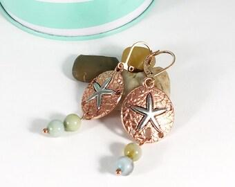 beachy earrings dangle   starfish earrings rose gold   amazonite earrings   ocean jewelry for women   unique earrings under 20 dollars