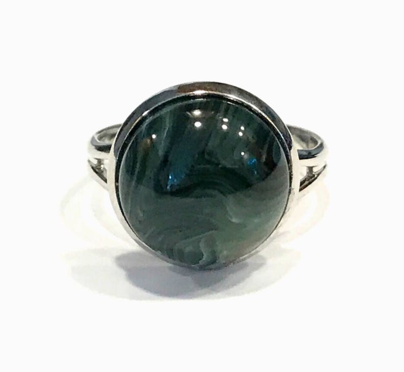 lightweight jewelry jewelry handmade dark green ring fashion rings in silver large stone ring men resin rings men gifts under 20