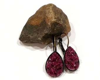 eggplant purple teardrop earrings handmade   plum druzy earrings   leverback style   michigan made jewelry artisan