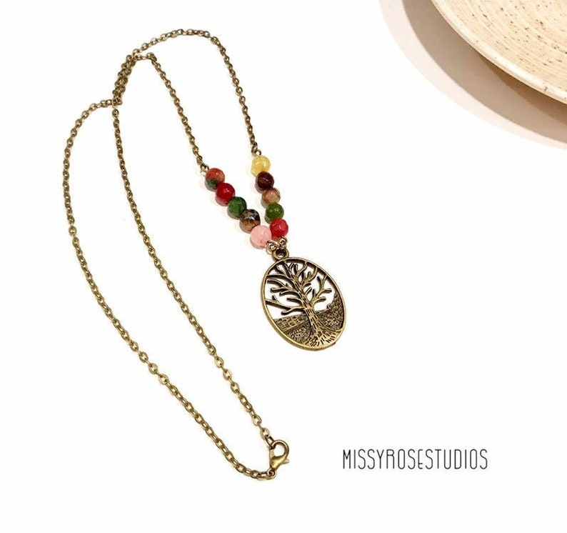beaded tree of life necklace michigan made jewelry bronze image 0