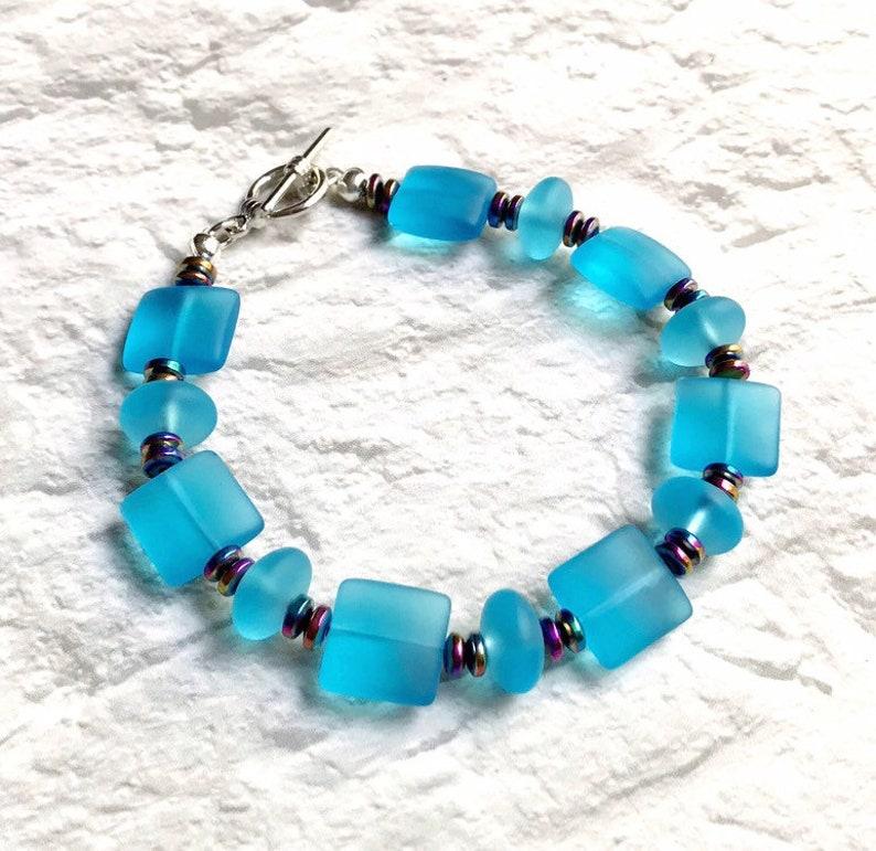 blue sea glass bracelet recycled jewelry art 8 inch bracelet image 0