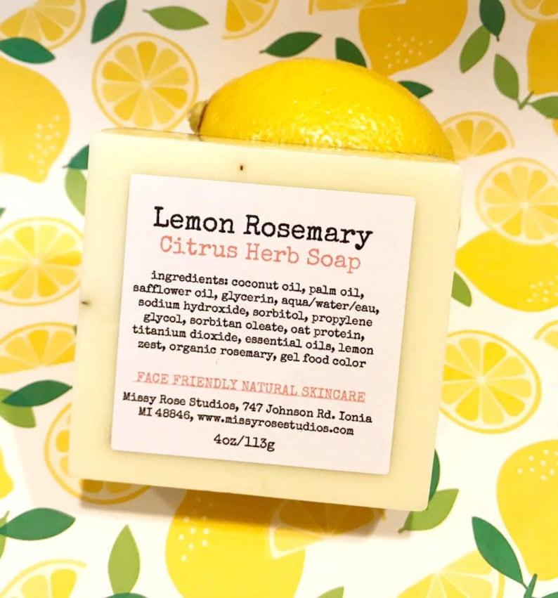 lemon rosemary soap kitchen soap bar citrus soap artisan image 0