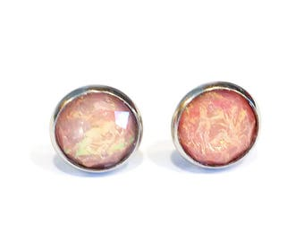 pink jewel earrings, imitation fire opal earrings studs, michigan made jewelry, stainless steel jewelry, mothers day gift from daughter