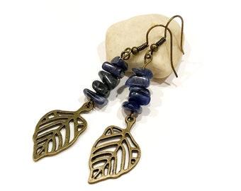 lapis lazuli chip earrings   gemstone earrings dangle   rustic earrings by artisans   boho mom gifts   michigan made jewelry