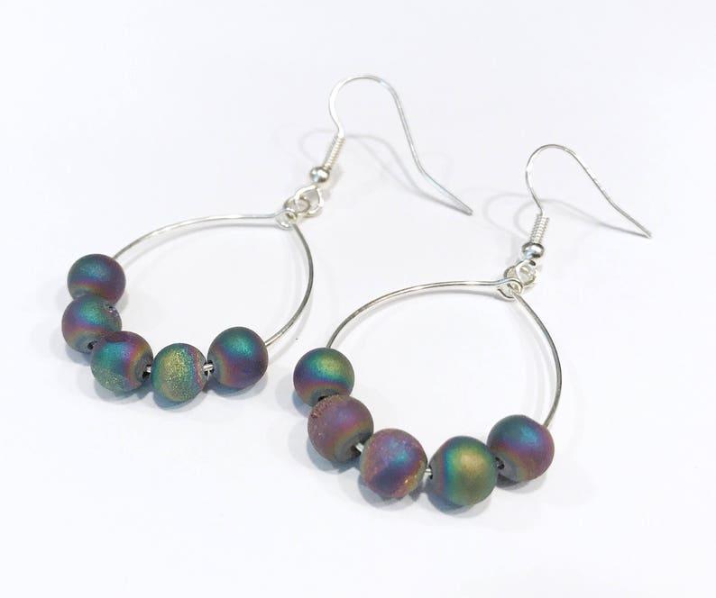 hoop earrings with beads druzy agate earrings earrings image 0