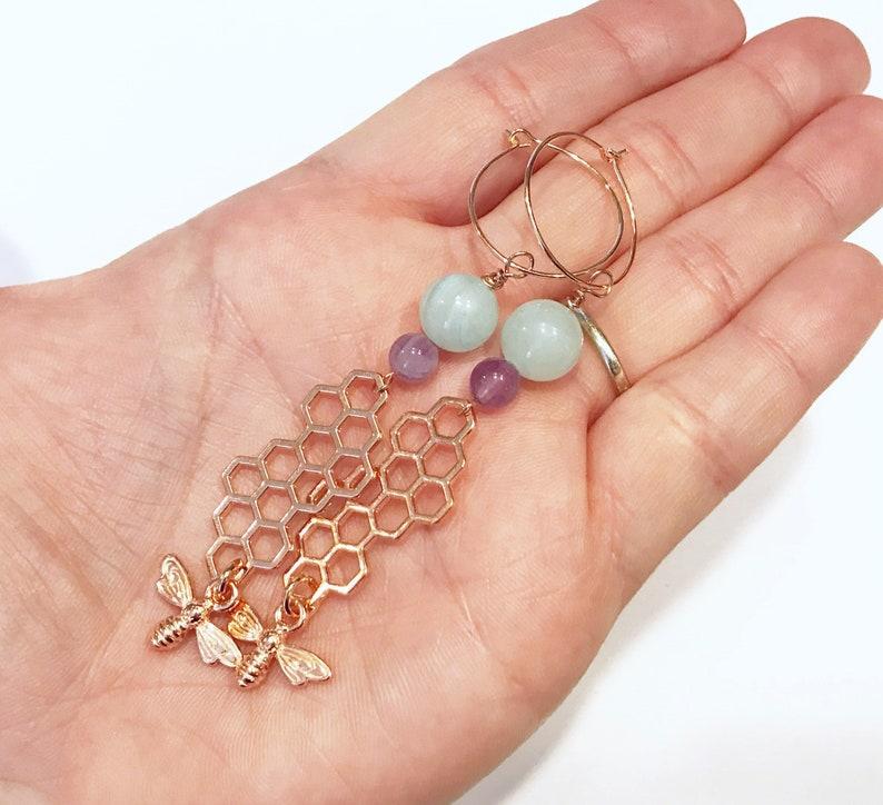 rose gold bee earrings honeybee jewelry long statement image 0