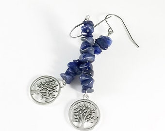 lapis lazuli earrings dangle   handmade gemstone jewelry   tree of life earrings   stone of truth and friendship   gift for women