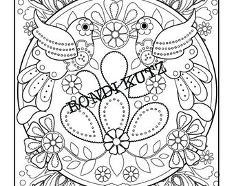 Instant Digital Download Love Birds Coloring Page Adult Folk Art Design Mexican