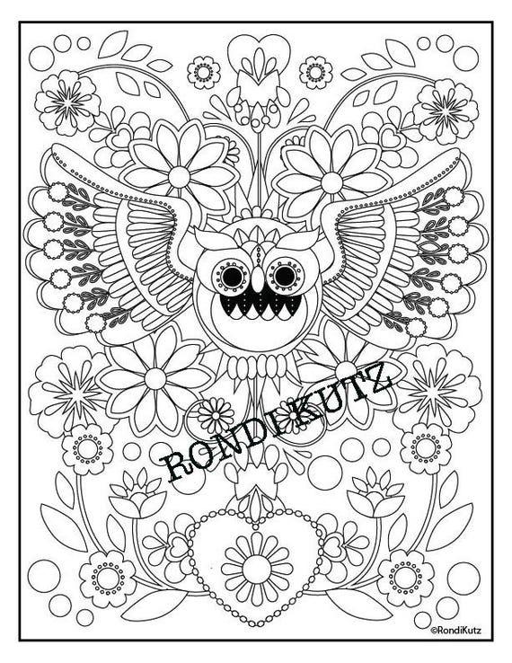 Instant Digital Download Desert Owl Coloring Page Adult