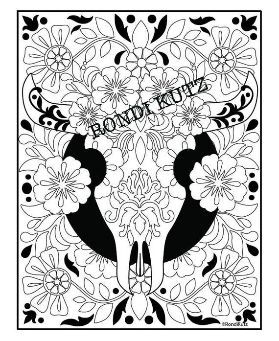Instant Digital Download Cow Skull Coloring Page Adult