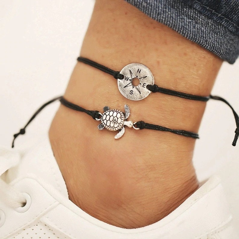 Black ankle chain sea turtle and compass