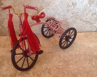 Rare 1880s Wood Amp Metal Tricycle Pigskin Seat Wood Handlebar