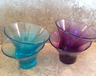 coloured glass ice cream bowls
