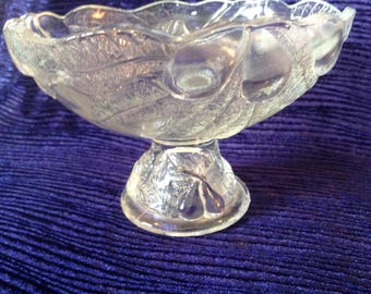 Pressed glass footed bowl