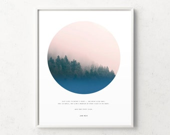 Forest wall art, forest print, john muir quote, affiche scandinave, forest fog inspirational quote, forest photo, circle photo, misty forest