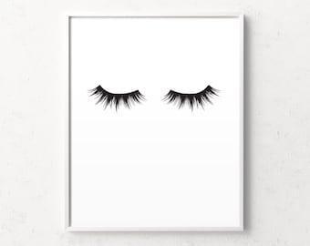 Eye lashes, eye lashes print, lashes poster, black lashes, lash, lashes, eye lash wall art, lash art, printable lashes, eye lash download