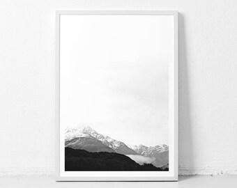 Mountain wall art, mountain print, mountains, minimalist landscape, mountain landscape, landscape prints, black and white landscape print