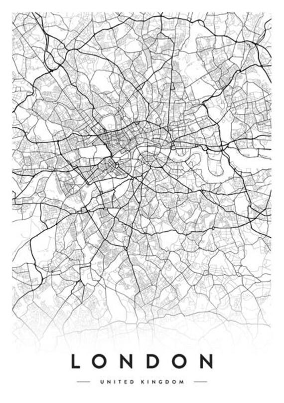 City London Map.London Map London City London Print London City Map London Poster London Map Poster London Map Of London Black And White Map Maps