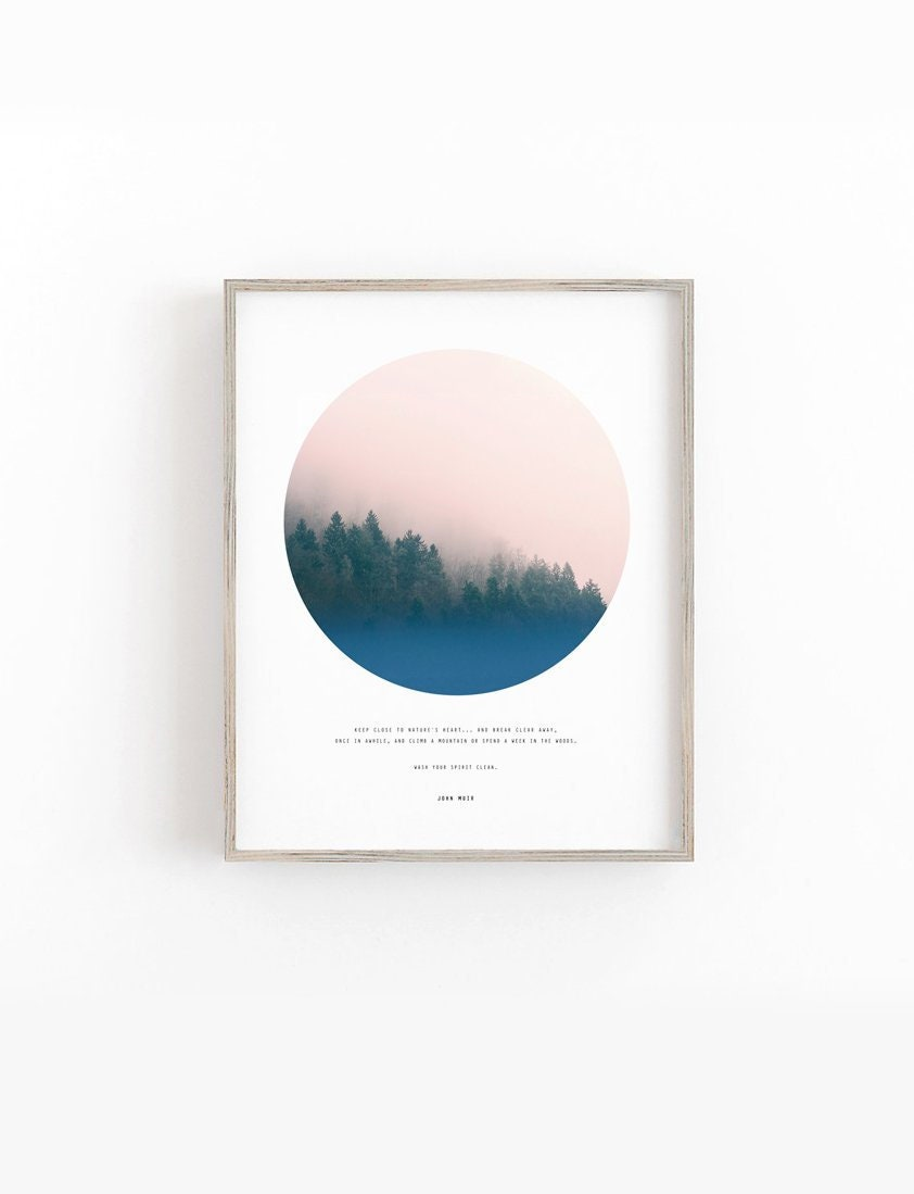 Forest Wall Art Forest Print John Muir Quote Affiche Etsy