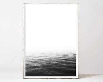 Ocean print, ocean wall art, minimalist wall art, black and white art, minimalist print, nordic design, modern art, landscape, photography