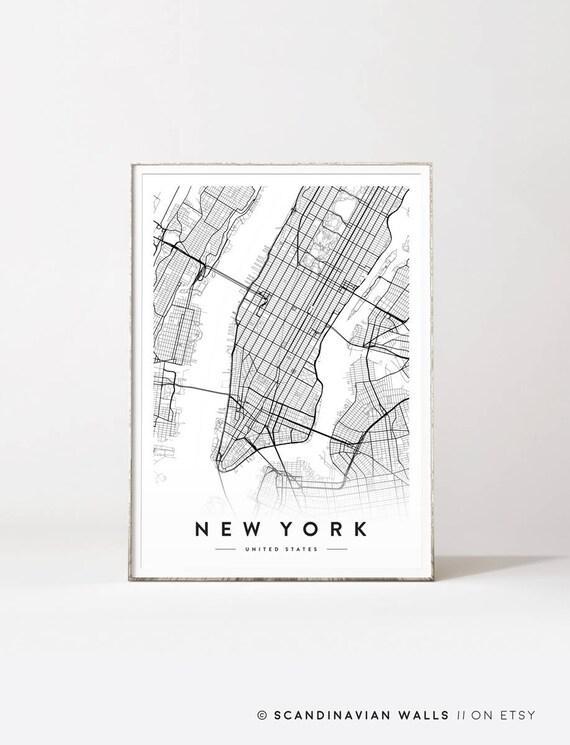 New York City Map New York Print New York City New York