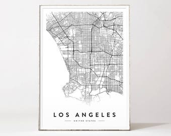 Los Angeles city map, Los Angeles print, Los Angeles map, Los Angeles poster, LA map, city map print, map poster, black and white map print