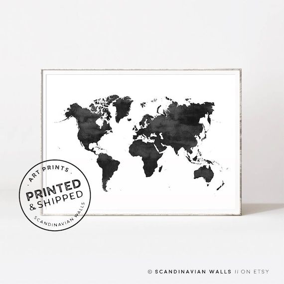 world map world map print world map poster black and white