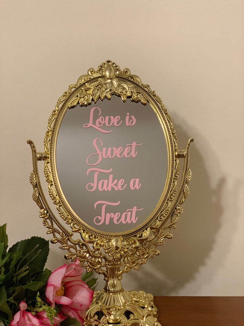 Love is sweet take a treat/Baby shower mirror sign/Fairytale image 0
