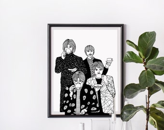 THE BEATLES LEGENDARY BLACK /& WHITE WALL ART CANVAS PRINT PICTURE SALE A2 A1 A0