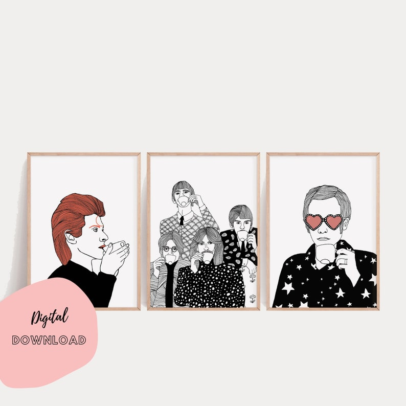 Printable Set of 3 Elton John The Beatles David Bowie image 0