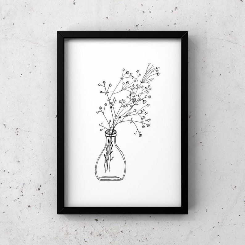 White Flower Print Simple Print Simple Flower Art Minimalist Print Wedding Party Gift Gypsophila Flower Baby Breath Flower Art