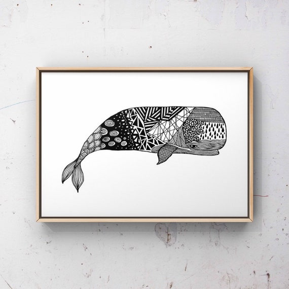 Printable Whale Art, Pen and Ink Drawing, Ocean Print, Bathroom Prints, Whale & Dolphin Conservation, Whale Art