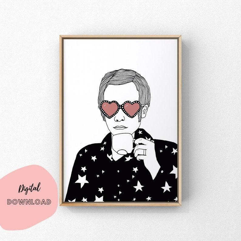 Printable Elton John Elton John Drinking Tea Digital image 0