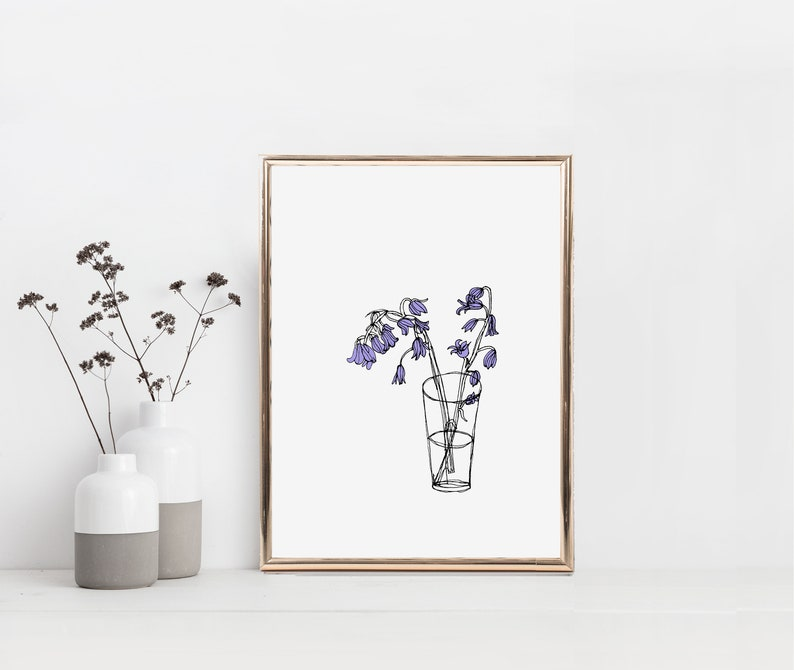 Lilac Bluebells Print Simple Line Drawing Minimalist Flower Etsy