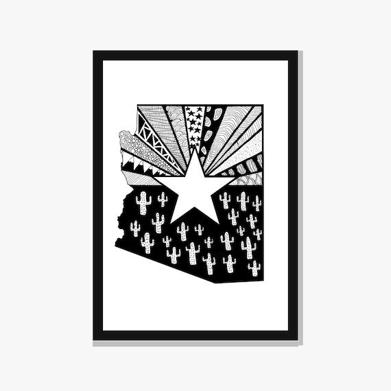 Arizona State Map Pdf.Printable Arizona State Map Print Cactus Pattern Etsy