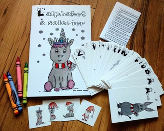 Combo coloring book and Multi-games to learn the alphabet and animals, watercolor illustrations, Christmas stockings, primer, child