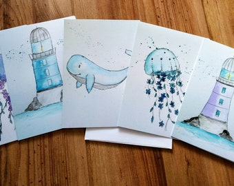 Set five maps all occasions, color, watercolor, maritime life, party, messageless, whale, jellyfish and lighthouse