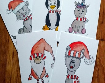Set five Christmas cards, color, watercolor, glossy exterior, party, messageless, llama, unicorn, cat, penguin, gnome