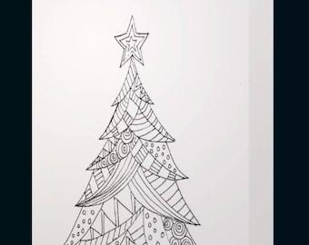Trio Christmas cards mandala coloring, owl, Christmas tree and ball, party, no message