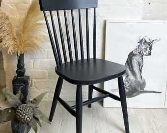 Stick back Scandi dining chair. Painted in any colour. Modern minimal design with simple spindle back & contemporary nordic tapered legs.