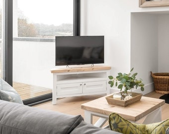 Corner tv unit with media shelf and shaker door. Handmade in any size or colour with thick rustic top and white painted base