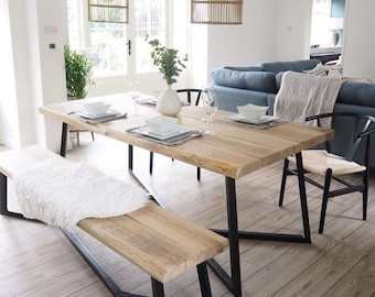 a4f1e20e6f Reclaimed Oak top Dining table with asymmetric black steel base & matching  bench. Industrial metal with rustic wood. Hand made in any size