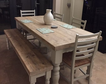 Farmhouse dining table with reclaimed wood top and bench, made to measure in any size, shabby chic farrow & ball painted 6 or 8 seater