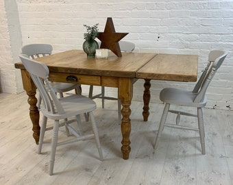 Small square farmhouse dining table with extendable leaf and 4 chairs. Dining set handmade in any colour or size