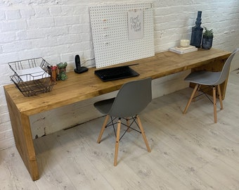 Reclaimed wood Up and over desk with thick rustic wood legs and top. Hand made in any size