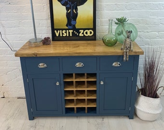Large  2 door sideboard with wine bottle rack & 3 drawers. Handmade in any size or colour with rustic reclaimed wood top.