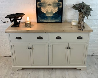 Large Sideboard with 2 Drawers over 4 doors in grey. Made to any size with reclaimed wood top and painted base