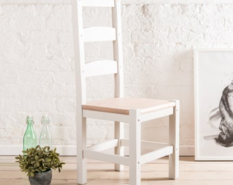 Ladderback farmhouse dining chairs in any colour with wooden seats, can be painted to order in any Farrow & Ball paint colour